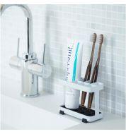 Porte brosse a dents blanc et noir compartimenté Yamazaki