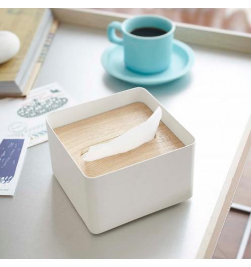 boite mouchoirs carr e en bois et en m tal boite. Black Bedroom Furniture Sets. Home Design Ideas