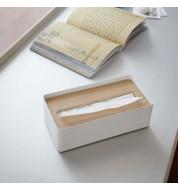 Boite a mouchoir rectangulaire bois et metal blanc Yamazaki
