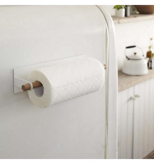 derouleur essuie tout bois et acier blanc porte sopalin magn tique. Black Bedroom Furniture Sets. Home Design Ideas