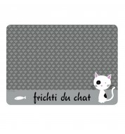 Support gamelle chat gris Derrière la porte