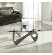Table basse design grise plateau verre