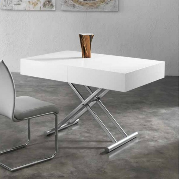 table salon extensible blanche tables relevables. Black Bedroom Furniture Sets. Home Design Ideas