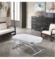 Table basse relevable extensible grise verre