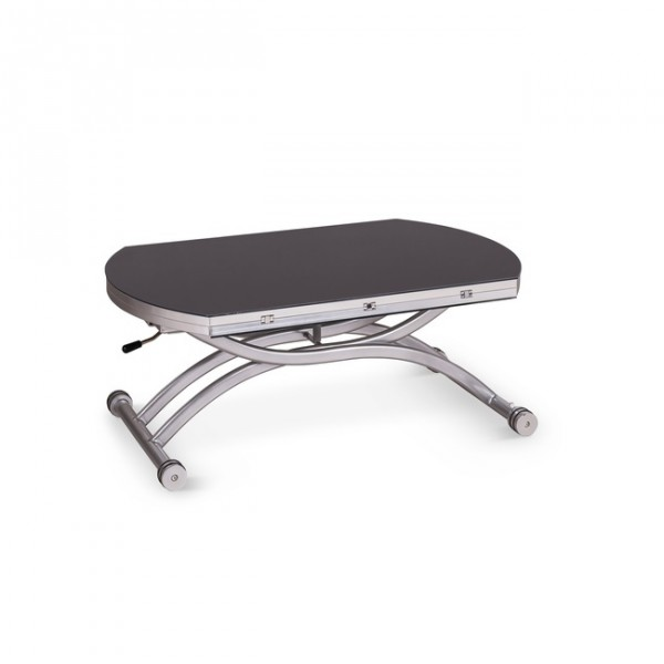 Table basse design modulable grise table en verre for Table basse relevable extensible