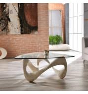 Table basse design beige plateau verre