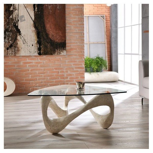 Table basse originale beige table design - Table basse plateau verre ...