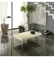 Table basse salon pierre naturelle beige 70x120 cm