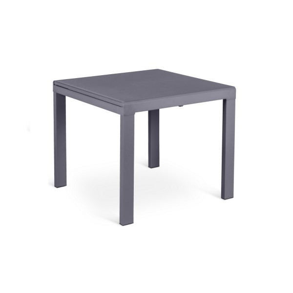 Table manger extensible grise table carr e avec rallonge for Table 90 extensible