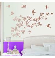 Sticker mural oiseaux cuivre XL Casélio