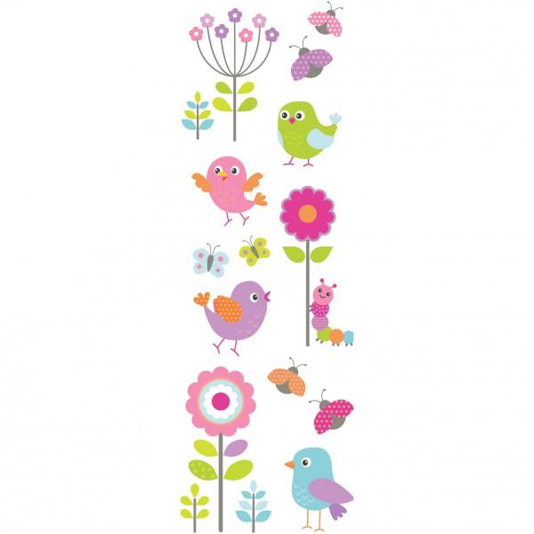 Sticker Enfant Color Oiseaux Fleurs Stickers Fenetre