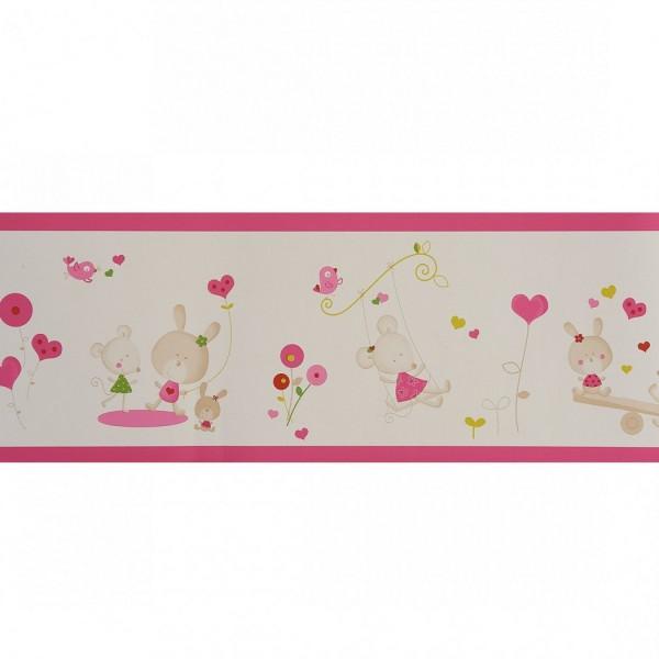 frise papier peint rose d coration chambre fille. Black Bedroom Furniture Sets. Home Design Ideas