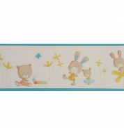 "Frise papier peint ""Wonderland"" beige/bleue"
