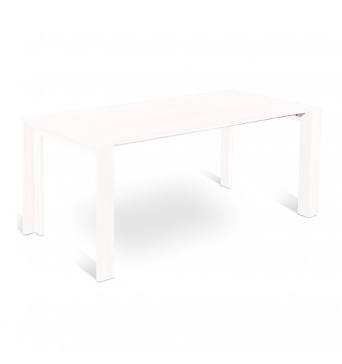 Table revetement laqu blanc console extensible - Table a manger blanche laquee ...