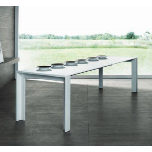 Table blanc laqu extensible salle manger - Table extensible laquee ...