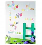 Sticker mural enfant alphabet animaux Caselio