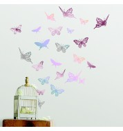 Stickers hologramme rose métallique Butterfly casélio