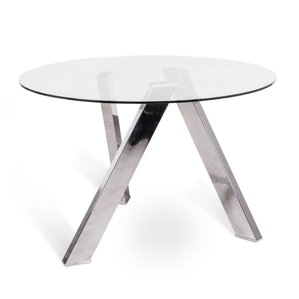 Table ronde avec plateau de verre salon for Table ronde plateau verre pied central
