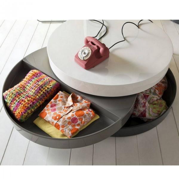 Table basse ronde compartimentée  table basse design