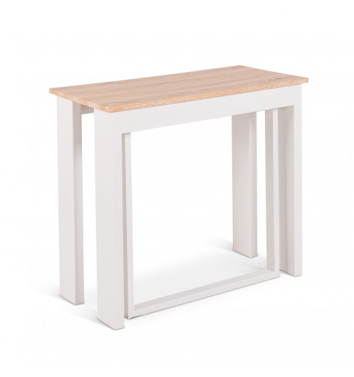 Table console extensible blanche table manger moderne for Table console extensible chene