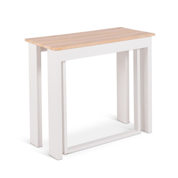 Table console extensible blanche table manger moderne for Table blanche extensible