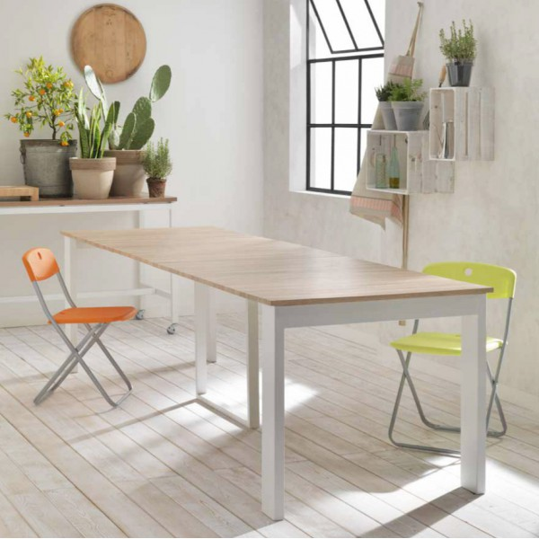 Table console extensible blanche table manger moderne for Table blanche et bois