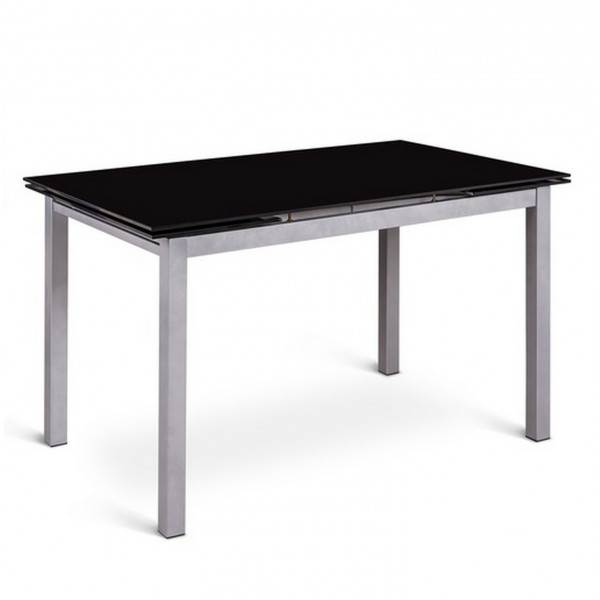 Table noire avec rallonge maison design - Table extensible rallonges integrees ...