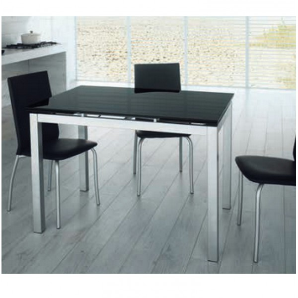 Table extensible en verre console extensible design - Table a manger noire ...