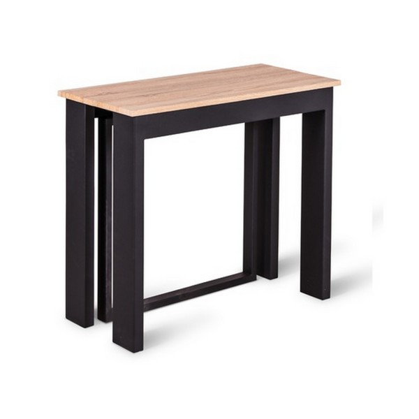 Table manger extensible noire table console extensible for Table extensible gris et bois