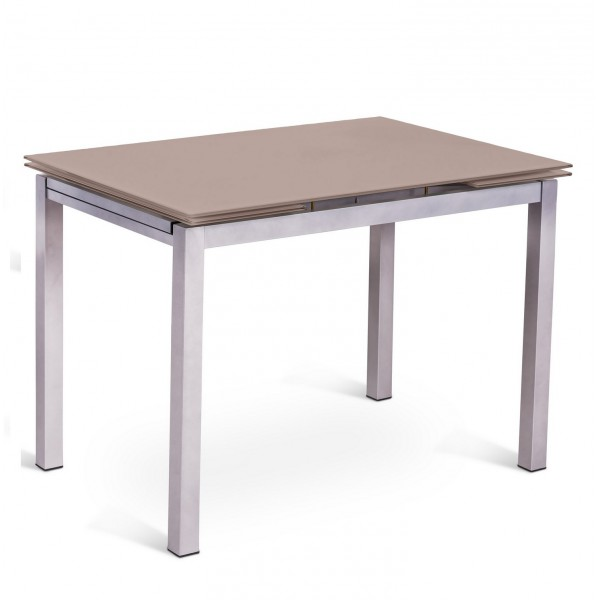 Table manger en m tal et verre console extensible deisgn for Table console extensible rallonges incorporees