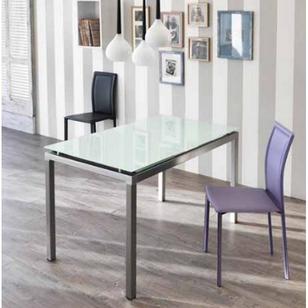 Table consoole extensible table en verre et m tal for Table verre noir extensible