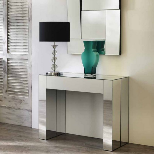 Console transformable en table console d 39 entr e for Miroir avec tablette pour entree