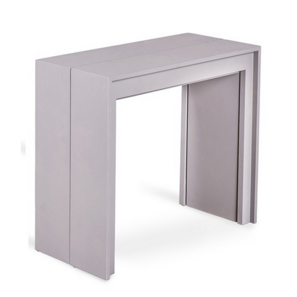 Table console extensible grise console transformable for Table a rallonge console