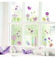 Sticker enfant fenetre fleurs et oiseaux Caselio