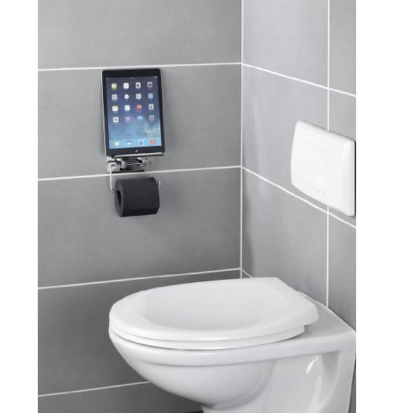 Distributeur papier toilette support t l phone for Porte rouleau papier toilette design