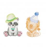 Stickers muraux enfant panda et lion XL Caselio