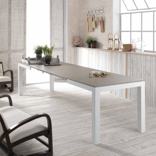 Table extensible grise et blanche table salle manger for Table salle manger extensible
