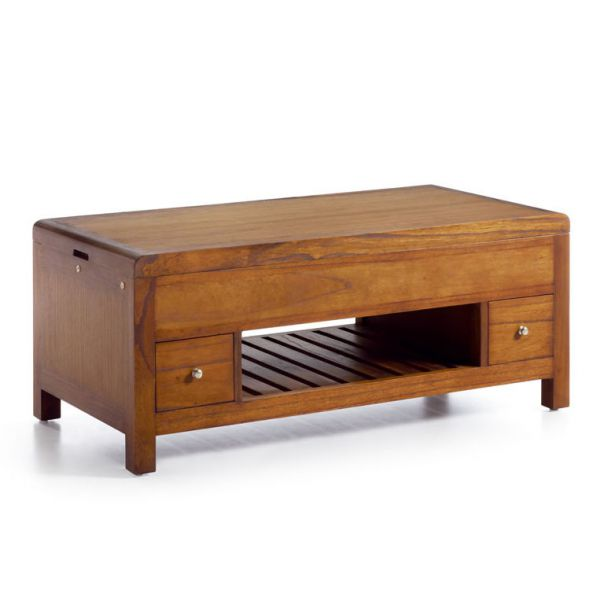 Table basse relevante en bois 110 cm 2 tiroirs meubles - Table basse coloniale ...