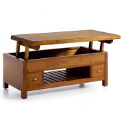 Table basse relevante en bois 110 cm 2 tiroirs