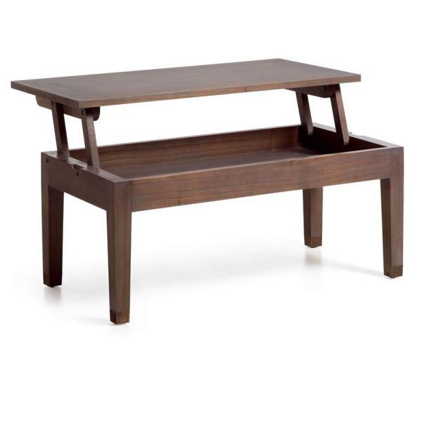 Table basse relevable 110 cm bois massif ciré  mobilier  Déco et saveurs