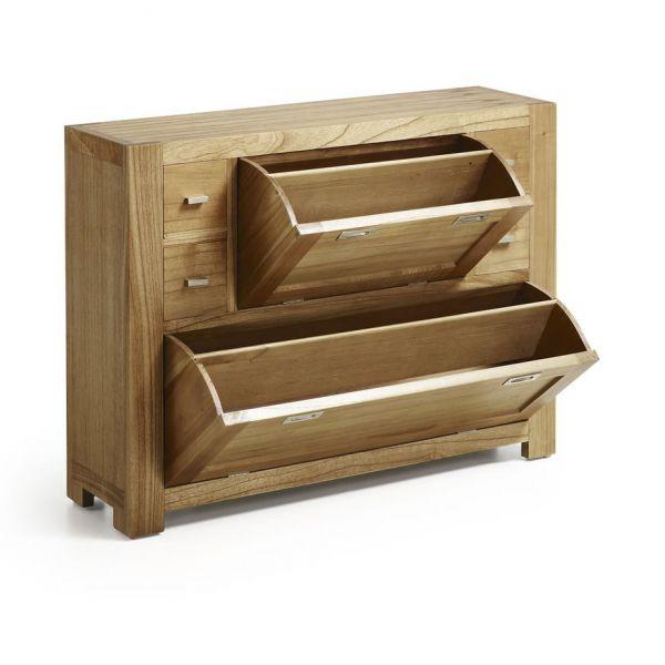 Meuble chaussures en bois massif 4 tiroirs entr e for Meubles a tiroirs bois