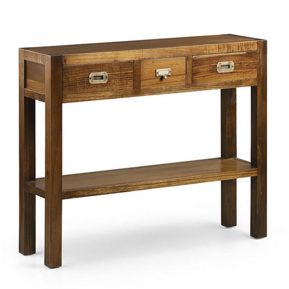 Meuble console plaquage bois wengé 2 tiroirs - meuble d\'entrée