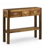 Console bois 3 tiroirs + étagère