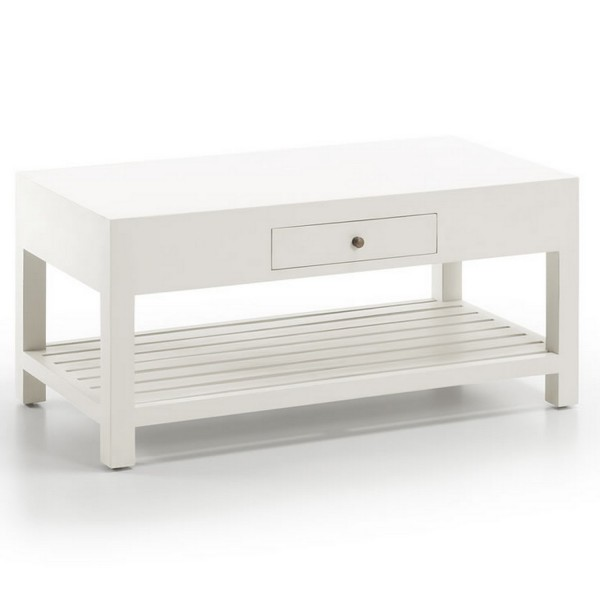 Table basse de salon table basse blanche moderne - Table basse blanche tiroir ...