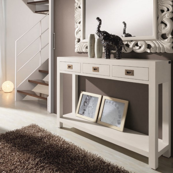 meuble d 39 entr e avec tiroirs console blanche. Black Bedroom Furniture Sets. Home Design Ideas