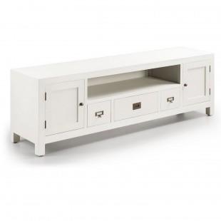 Meuble tv bois massif laqué blanc