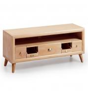 Meuble tv bois 5 tiroirs + étagère