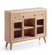 Console bois mindi 3 tiroirs + étagère