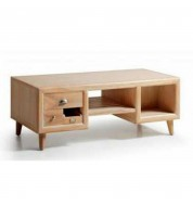 Table basse bois 6 tiroirs + 2 niches + porte revues