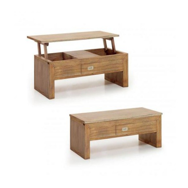 Table basse relevable en bois table relevante marron for Table basse bois relevable